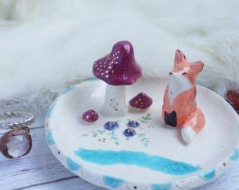 woodland fox ring dish, ceramic jewelry dish, boho ring dish