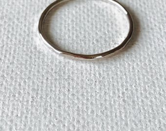 Sterling Silver Hammered Stacking Ring Band