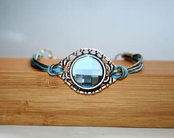 Blue Swarovski Crystal bracelet and leather
