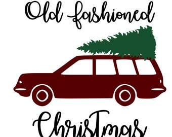 Old fashioned station wagon Christmas Tree SVG File, Quote Cut File, Silhouette File, Cricut File, Vinyl Cut File