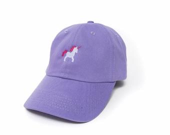 Unicorn Hat, Unicorn Dad Hat, Unicorn Baseball Cap, Embroidered Baseball Cap, Adjustable Strap Back Baseball Cap, Low Profile, Lavender