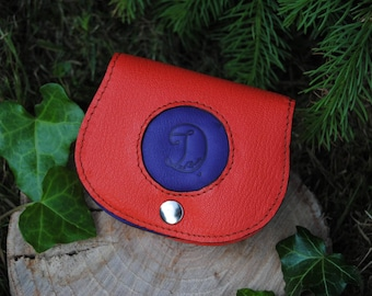 Red and purple leather wallet