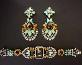 Art Deco Earrings Bracelet Set Great Gatsby Earrings Bracelet Set Vintage Art Nouveau Earrings Bracelet Set Wedding Downton Downtown Abbey