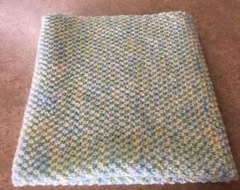 Handmade knitted baby blanket, baby blanket, baby blanket, baby girl blanket, green knitted blanket, newborn gift, yellow blanket