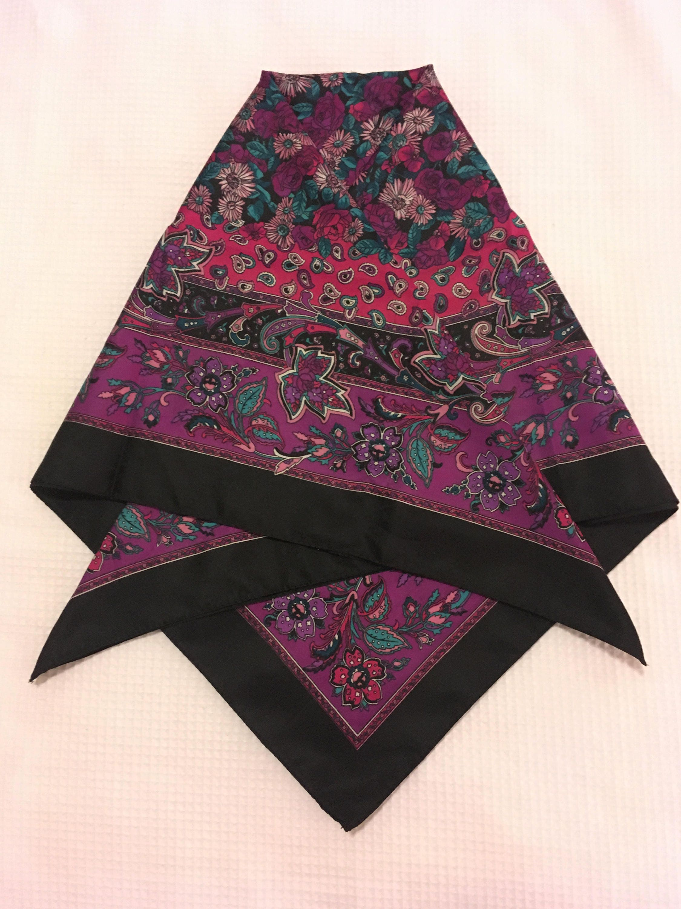 Vintage London scarf in purple and black with paisley pattern, Tie ...