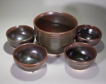 Set of 5 Tea Dust Black and Brown Wheel Thrown Ceramic Bowls
