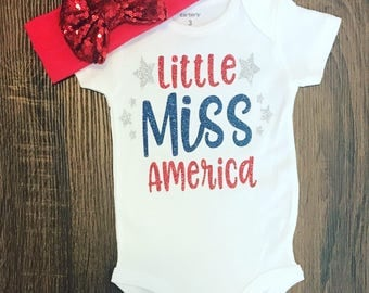 Little Miss America Outfit | July 4th Outfit | Baby Girl 4th of July Bodysuit | Baby Sparkle Shirt |
