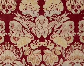 CLARENCE HOUSE EXLUSIVELucia Lotus Medallions Velvet Fabric 3 Yards Burgundy Multi
