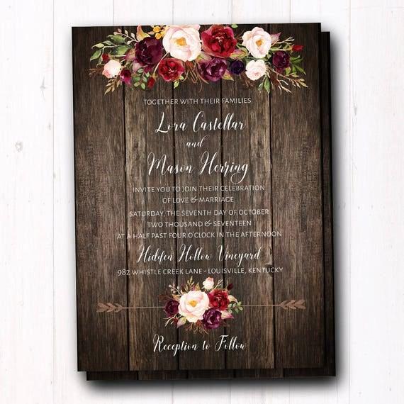 burgundy wedding invitation rustic fall wedding invites, Wedding invitations