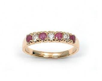 Gold plated half OZ RUBY wedding band ring
