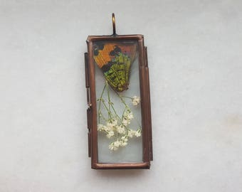 Stained Glass Locket with Real Sunset Moth Wing and Dried Flora- Cruelty Free