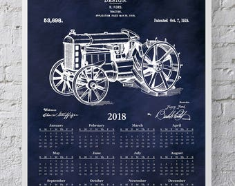 2018 Calendar 1919 Henry Ford Tractor Patent Print - Poster - Wall Art - Farm 12 Month Calendar - Agriculture Calendar - Farm Decor