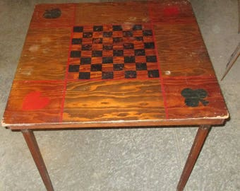 Folk Art Folding Wooden Card Checkers Chess Game Room Table Hand Painted  Vintage