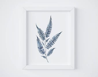 Blue Fern Print No 2 - Fern painting - Fern watercolor - home decor painting - watercolor painting - greenery - fern art - fern leaf - leaf