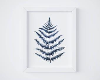 Blue Fern Print No 1 - Fern painting - Fern watercolor - home decor painting - watercolor painting - greenery - fern art - fern leaf - leaf