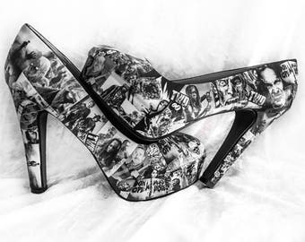 The Walking Dead - Decoupage Shoes - Zombie Footwear - Customised Shoes - Cosplay Shoes - Geek Shoes - Walking Dead Shoes - Horror Shoes