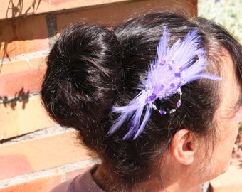 Bride with purple feather hair ornament