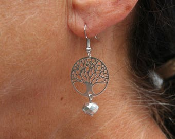 """Silver color earrings with """"tree of life"""""""