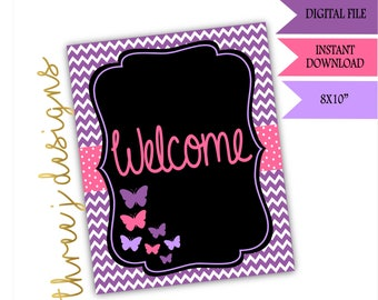 Butterfly Baby Shower Welcome Sign - INSTANT DOWNLOAD - Purple and Pink - Digital File - J002