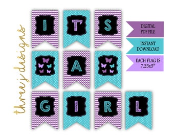 Butterfly Baby Shower IT'S A GIRL Banner - Instant Download - Purple and Teal - Digital File - J001