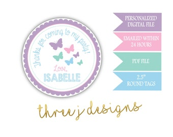 Butterfly Birthday Party Personalized Thank You Favor Tags - Pastel Purple, Pink, Green and Blue - Digital File - J010