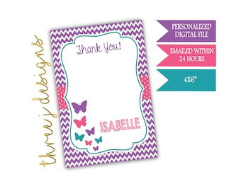 Butterfly Birthday Party Thank You Card - Personalized - Purple, Pink and Teal - Digital File - J008