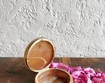 Vintage Polished Stone Keepsake Jewelry Trinket Ring Box