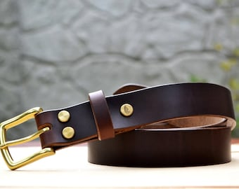 "1.25"" width Brown Horween Chromexcel leather belt 