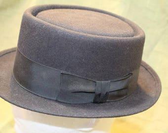 Vintage Newport Merino  Porkpie  Fedora Fur Felt  Black  Men's Hat