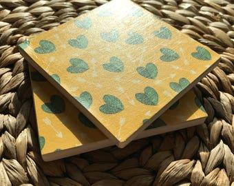 Southwestern Arrow Cacti BOHO Coaster - Green | Full Cork Backing
