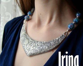 Sale Light blue lambwork beads necklace Blue glass necklace Bead necklace Ukrainian necklace Bird necklace Metalic necklace Ukrainian jewelr