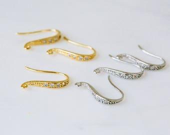 4pcs Simple cz cubic zirconia Dangle Drop Tie Hook Ear Wires Earring Findings,dangling earrings,drop dangle earrings
