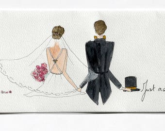 Table watercolor 40.6 x 15 cm. Back, white wedding theme.