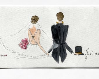 Table watercolor 40.6 x 15 cm. Back, white wedding theme.