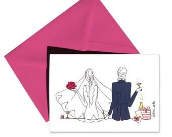 Folded card wedding fuchsia envelope.