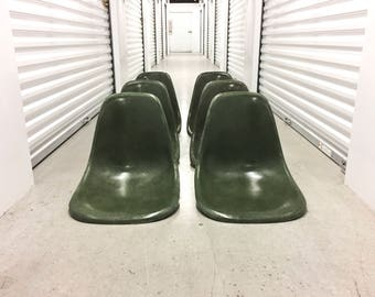 Forest Green Eames Side Shell Chairs Herman Miller