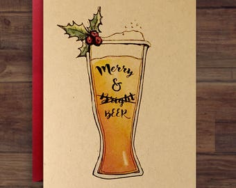 Merry and Beer // Christmas Craft Beer Card