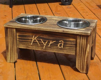 Rustic Rised Dog Feeder
