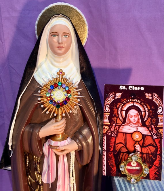 """St. Clare of Assisi 18"""" Patron of Goldsmiths, Laundry and Television"""
