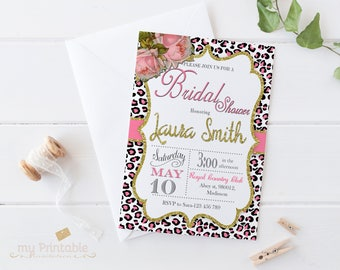 Animal Print Bridal Shower Invitation / Digital Printable Leopard Invite for Wedding / DIY Party