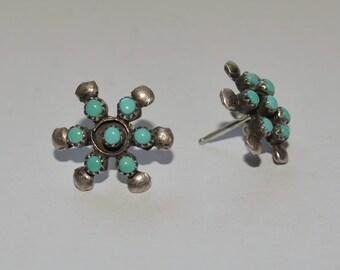 Vintage Turquoise Sterling Earrings Turquoise Blossom Sterling Studs Star Earrings Snowflake Earrings Flower Earrings Multistone