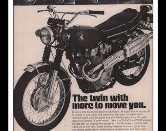 "Vintage Print Ad 1960s : Honda 450 Scrambler Motorcycle Automobile Car Wall Art Decor 8.5"" x 11"" each Advertisement"