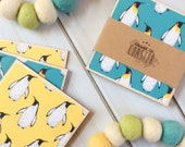 Penguin Gift, Penguin Decor, Penguin Coasters, Blue Penguin, Yellow Penguin, Penguins, Set of Penguin Coasters, Teal Decor, Yellow Decor