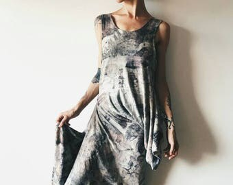 Botanical Eco-printed Dress, Sculptural Drape, OOAK, Boho, Natural Dye Dress, Stretchy Cotton, Assymetric