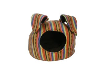 Hedgehog Bed - Guinea Pig Bed - Small Animal Bed - Hedgehog House - Guinea Pig House - Rat Bed - Multi-Color Stripes Bunny Ear Cave