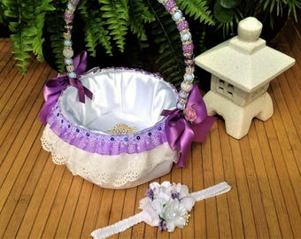 White Satin and Sequin Lilac Lace Flower Girl Basket and Headband Set, Satin Basket with handmade acrylic crystal beaded handle - Bridal