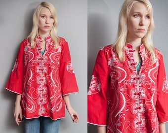 Vintage 1970's | Red | Embroidered | Mandarin Collar | Dragon | Topper | 3/4 Bell Sleeves | M