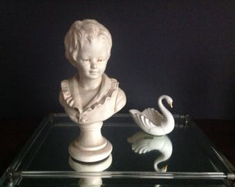 1950s VINTAGE Mid Century Bust of 18th C French Boy / Chalk ware / Sculpture, Alexander Backer - REDUCED!