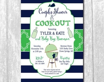 Couples Baby Q Invitation. Baby Q Shower Invitation. Whale Baby Shower. navy. white. cookout/Digital File, printable/Wording can be changed