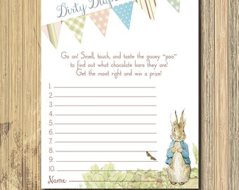 Vintage Peter Rabbit Baby Shower Game..Dirty Diapers/INSTANT DOWNLOAD/printable, digital, beatrix potter game, peter rabbit invitation